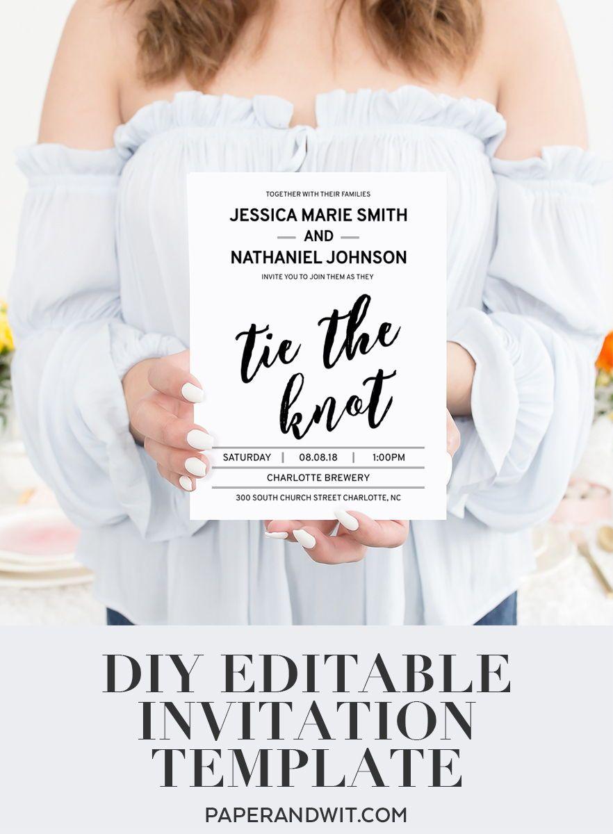 Wedding Invitations Elegant Printable Wedding Invita Wedding