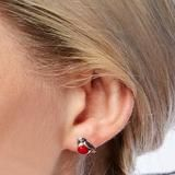 Photo of Miniature Robin Stud Earrings in Silver and Coral