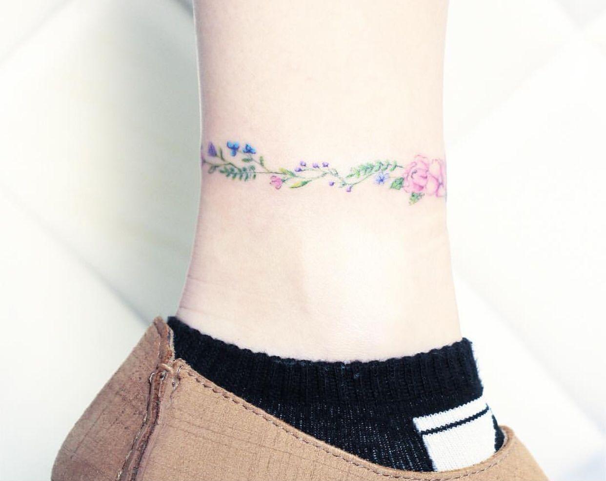 Flower Watercolor Ankle Bracelet Tattoo Tattoo Bracelet Small Tattoos Tattoos