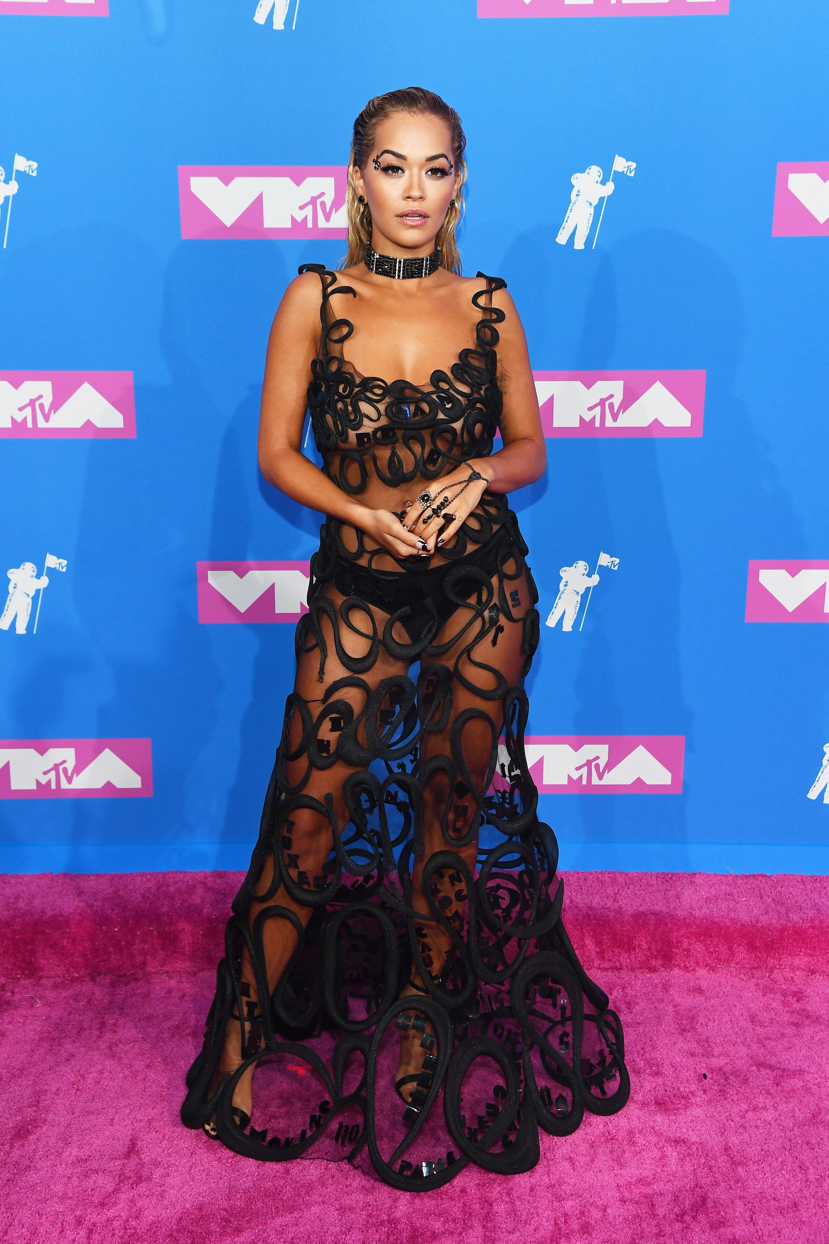 01b29cb77 MTV VMA's 2018: Ariana Grande Lets Down Her Hair for Her First Red Carpet  Walk with Pete Davidson