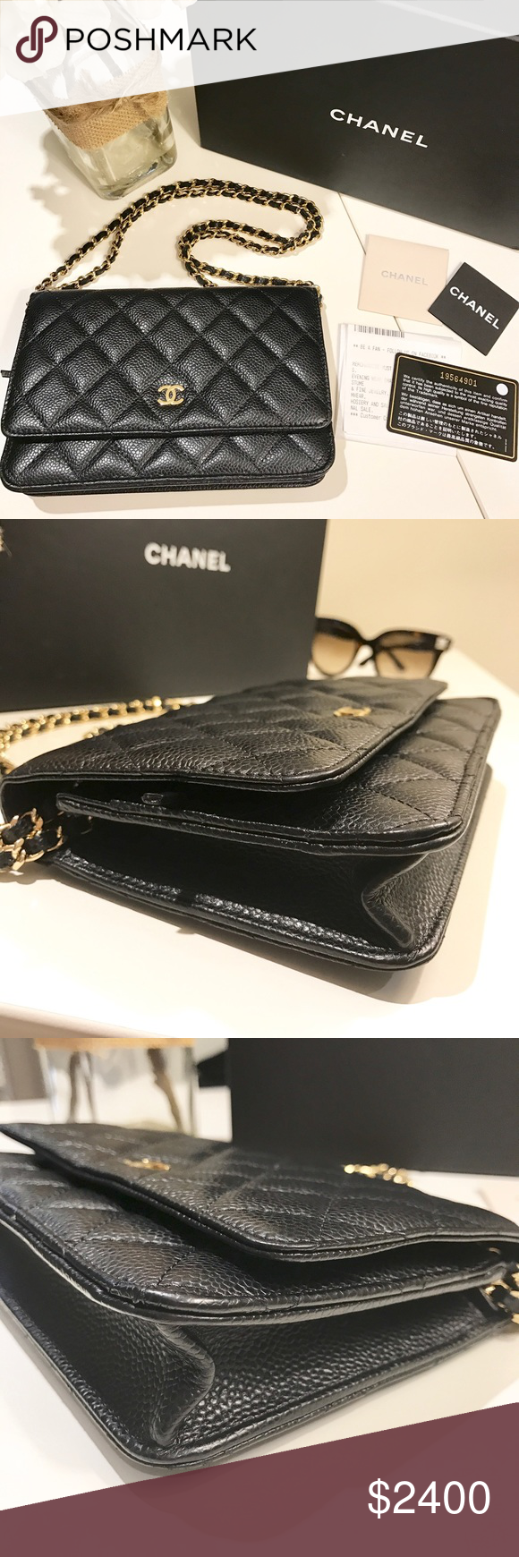 094174f78c7e Authentic Chanel Classic Wallet on Chain Authentic Chanel classic wallet on  chain in black quilted caviar