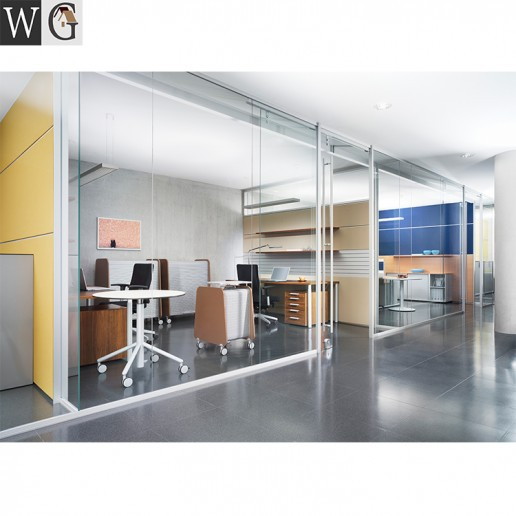 Tempered Glass Office Partition Aluminum Sliding Door Partition