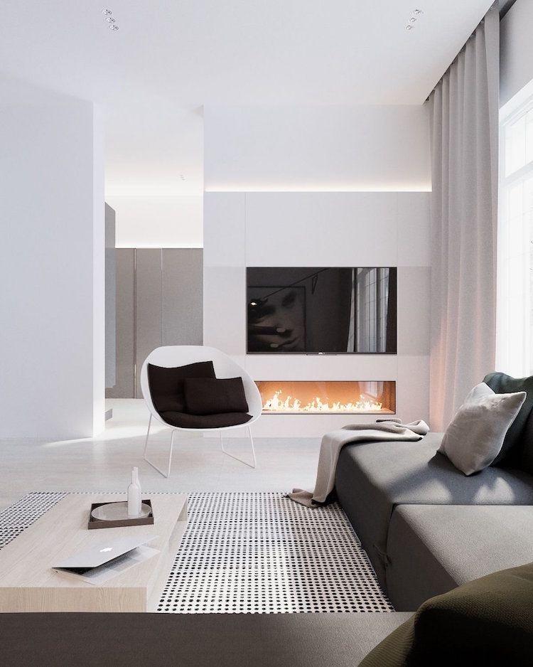Salon Ultra Moderne Blanc Noir Cheminée Gaz