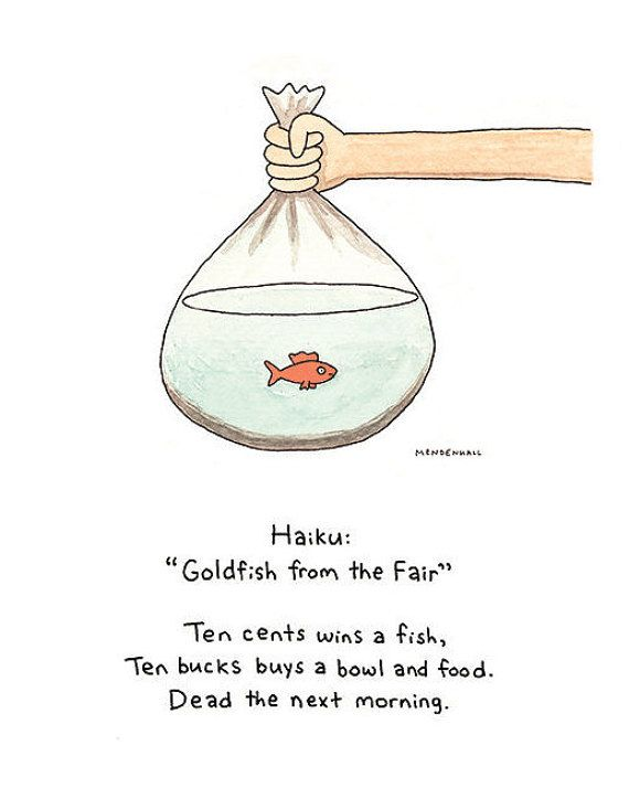 Goldfish Poem Haiku Poetry Bathroom Art Prize By