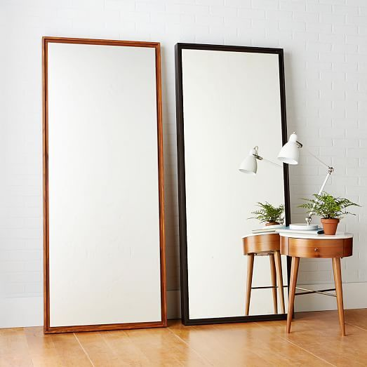 Floating Wood Floor Mirror, White Lacquer | Floor mirror, Woods and ...