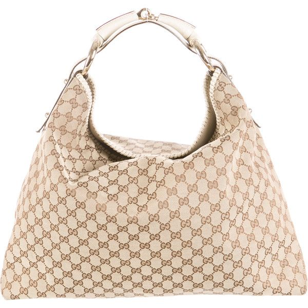 5cab707f0 Pre-owned Gucci Large GG Canvas Horsebit Hobo ($645) ❤ liked on Polyvore  featuring bags, handbags, shoulder bags, white, hobo shoulder handbags,  canvas ...
