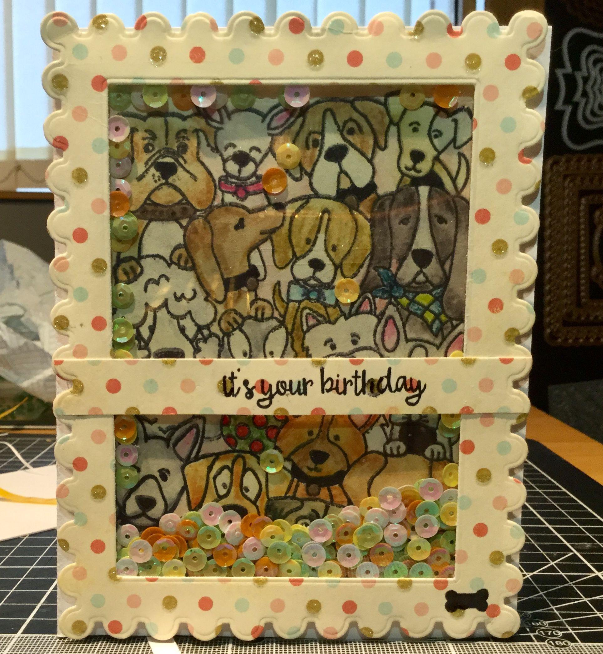 Dogs Handmade Shaker Card Birthday Card