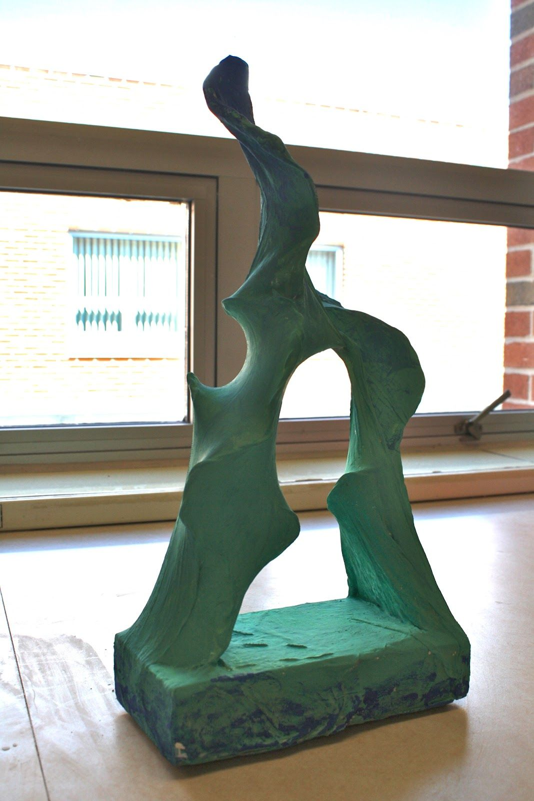Clay wire pantyhose sculptures