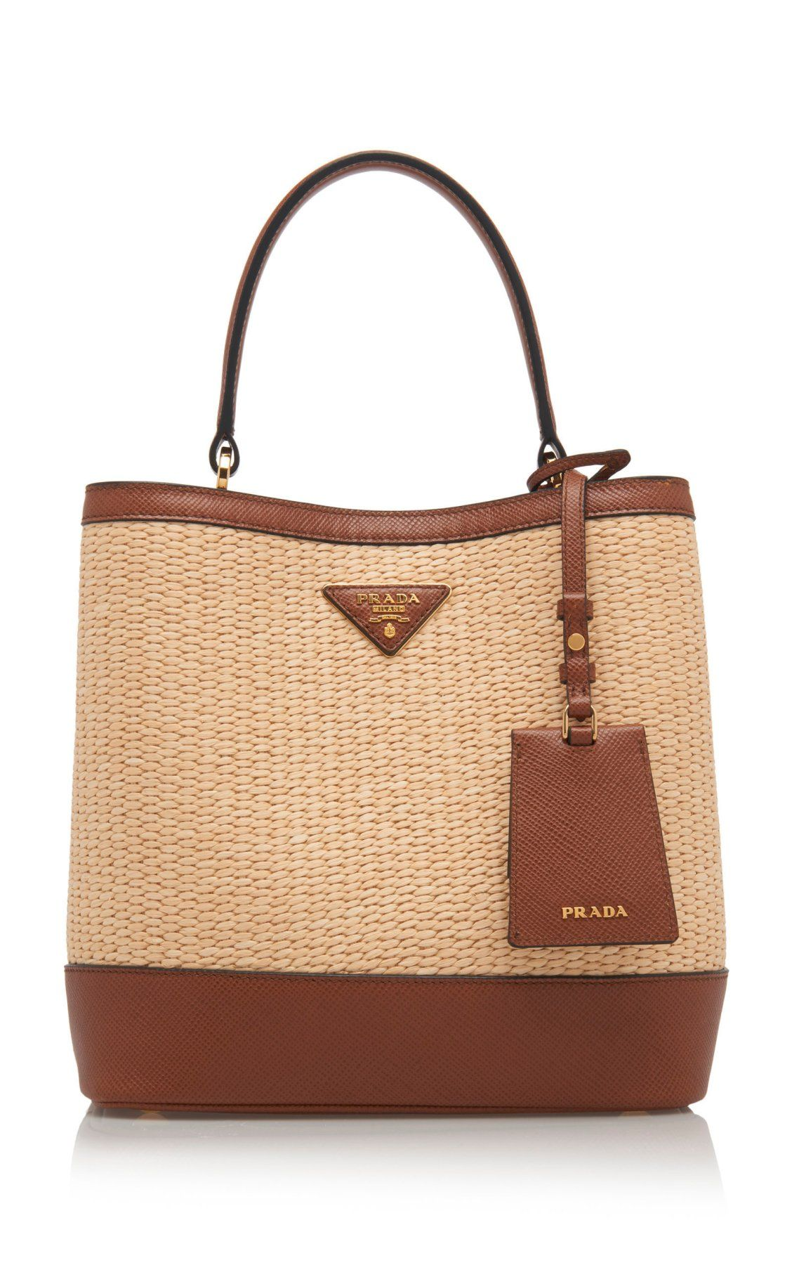 9892bbf97ed9 Medium Raffia and Saffiano Leather Double Bucket Bag by Prada Spring Summer  2019