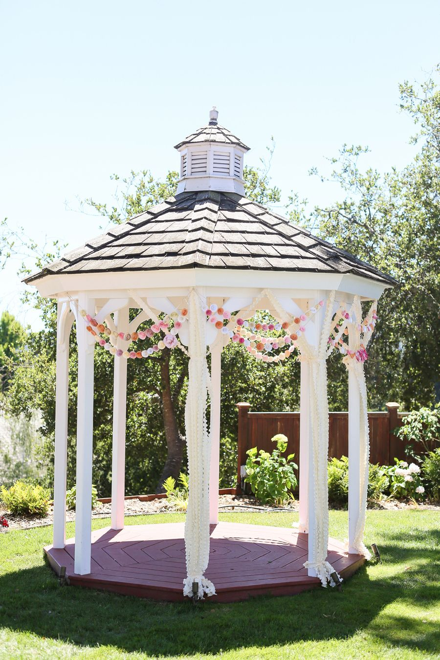 Simple gazebo decorations   Read More on SMP: http://www.stylemepretty.com/california-weddings/2014/03/14/santa-cruz-wedding-at-hollins-house/