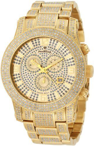 """JBW-Just Bling - Men's JB-6235-A """"Lynx"""" Six Carat Diamond Mother-Of-Pearl 18K Gold Plated Stainless Steel Watch"""
