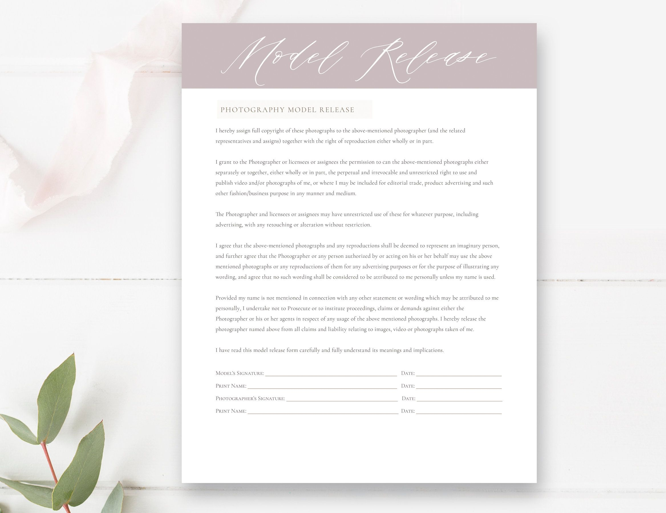 Photography Model Print Release Template Photography Form Etsy Wedding Photography Magazine Free Photography Website Templates Photography Website Templates