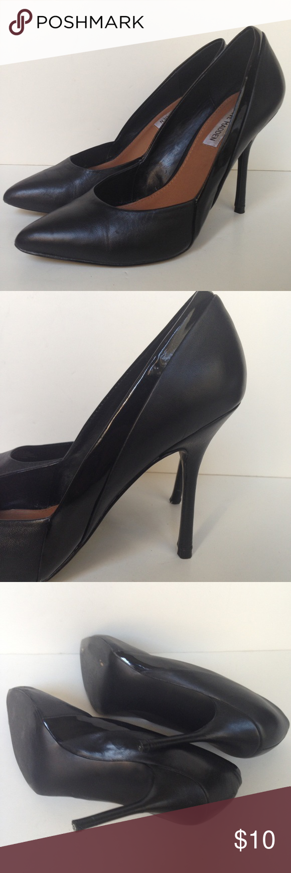 Clydee Black Pointy Heels 8.5 Leather These had not been worn more than 3 X but the heel popped off and needs a replacement to be good as new, repair is usu under $10. Other than that great almost new condition. Steve Madden Shoes