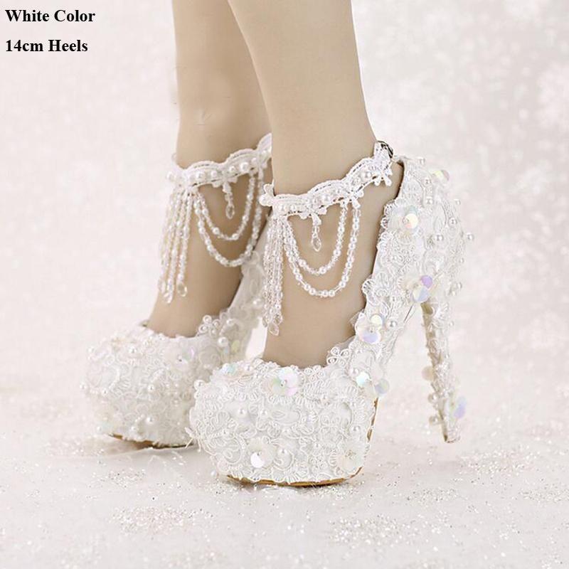 Bling Bridal Shoes High Heel Platform Lace Sequined Vintage Tassel