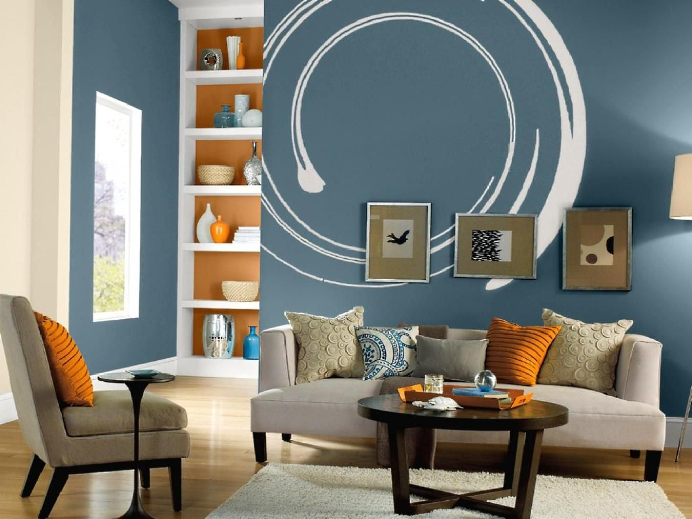 A Unique Blue Wall Paint With White Circle For Terrific Living Room