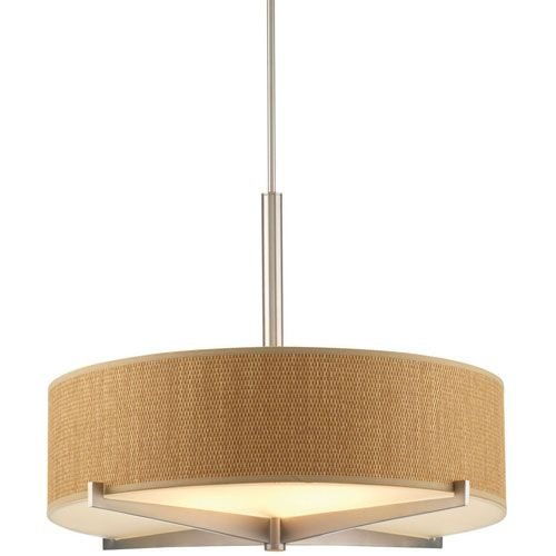 Fisher Island Satin Nickel Large Three Light Drum Pendant W/ Natural  Grasscloth Shade Design