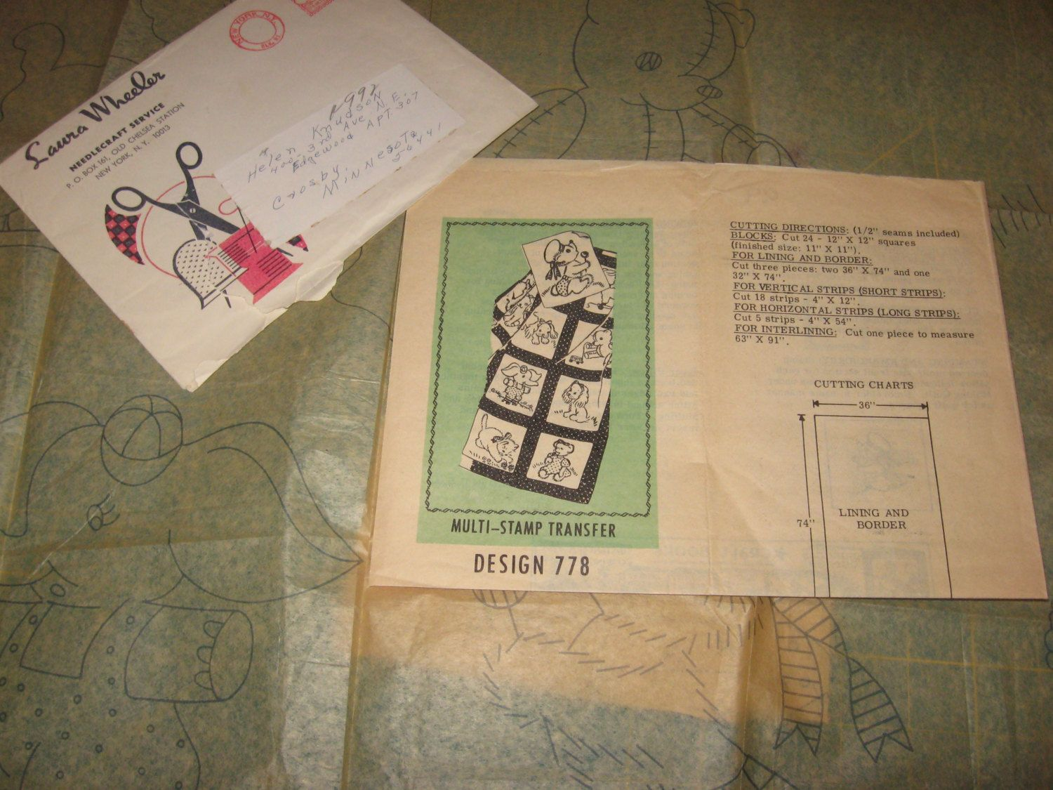 1960s Iron on Transfer Baby Quilt Pattern LAURA WHEELER 778 Puppy ...