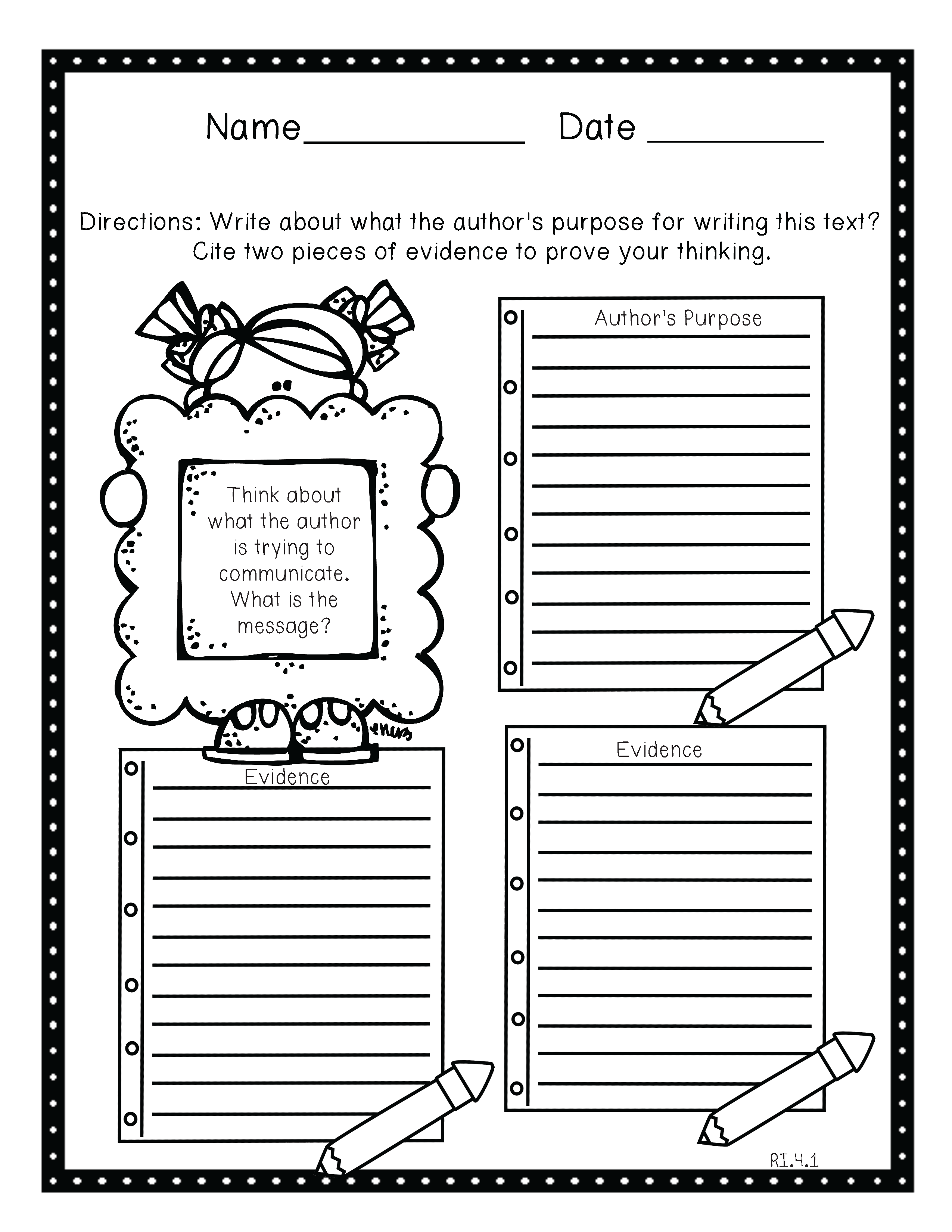 Life in Fifth Grade Close reading toolkits – Close Reading Worksheet