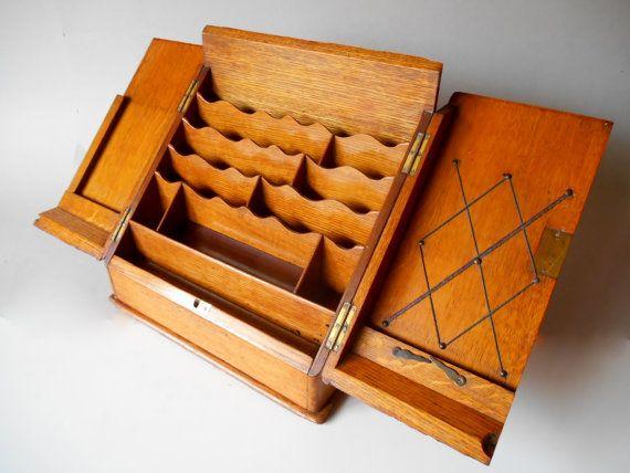 Antique Letter Holder  Writing Box  Letter Box  File Storage