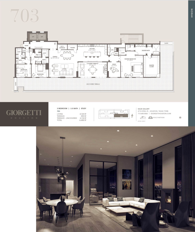 Giorgetti Houston Penthouse 703 Penthouse Apartment Floor Plan House Plans Mansion Apartment Floor Plans