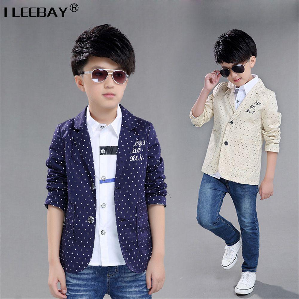 Click To Buy 2017 New Spring Autumn Fashion Big Boys Coat European Style Children Polka Dot Suit B Childrens Clothes Boys Childrens Clothes Boy Outerwear