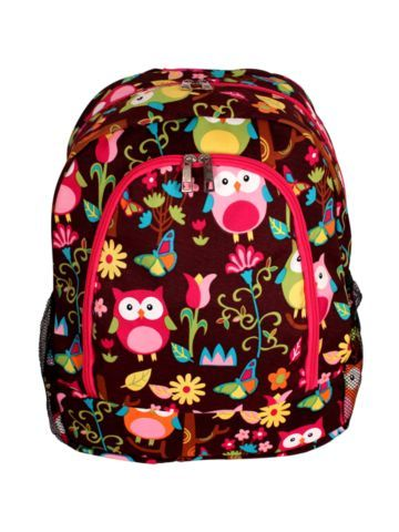 $13.75 Owl Give a Hoot Large Backpack with Hot Pink Trim