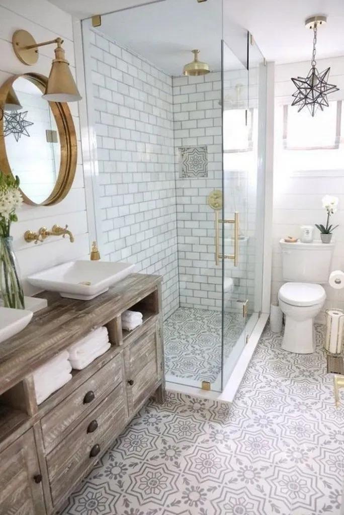 10 Best Farmhouse Master Bathroom Remodel Ideas White Subway Tile Shower Bathroom Renovation Diy Rustic Bathroom Vanities
