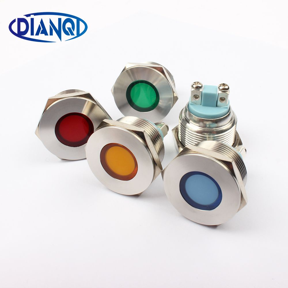 Led Metal Indicator Light 22mm Flat Round Signal Lamp Light 3v 6v 12v 24v 220v Screw Connect Red Yellow Blue Indicator Lights Yellow Blue And White Lamp Light