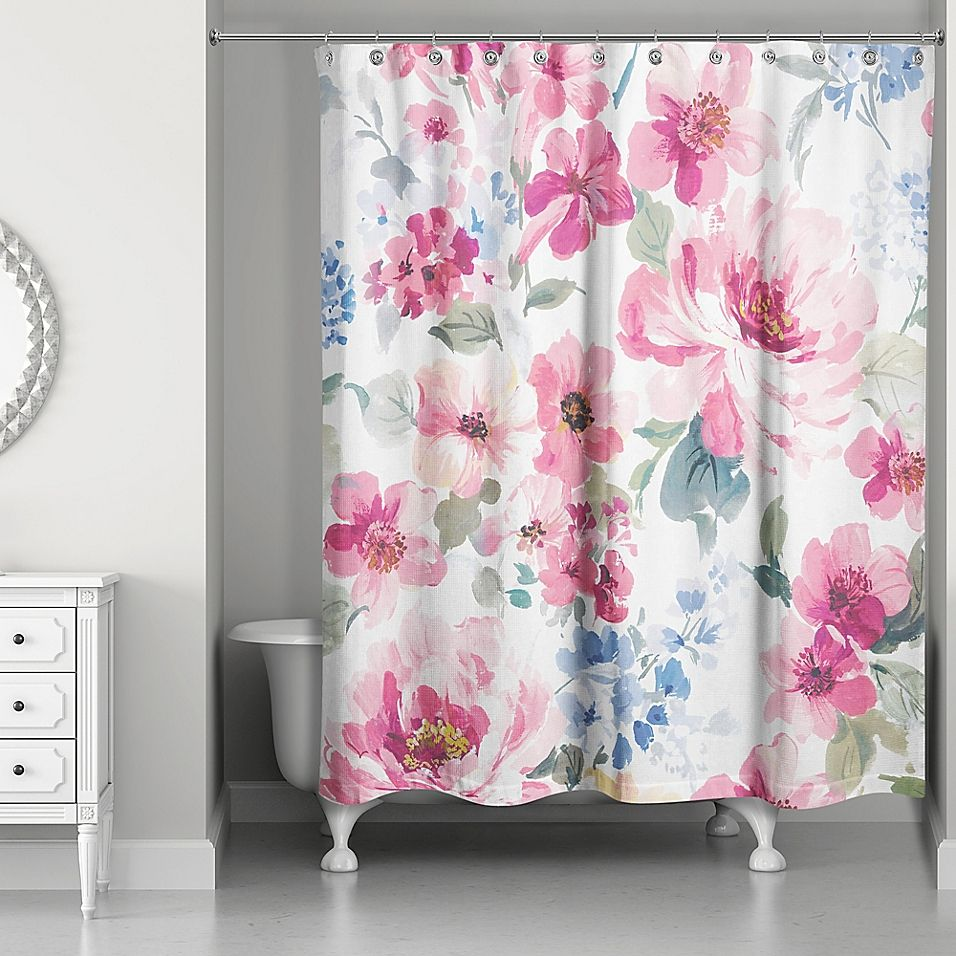 Designs Direct Watercolor Floral Shower Curtain In Pink In 2020