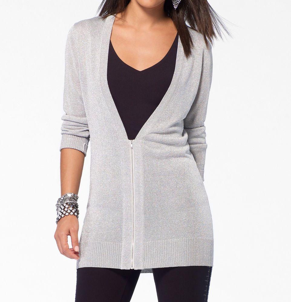 NWT Cache Silver Shimmer Dress Top Sheer Zipper Cardigan XS ( 0 ...