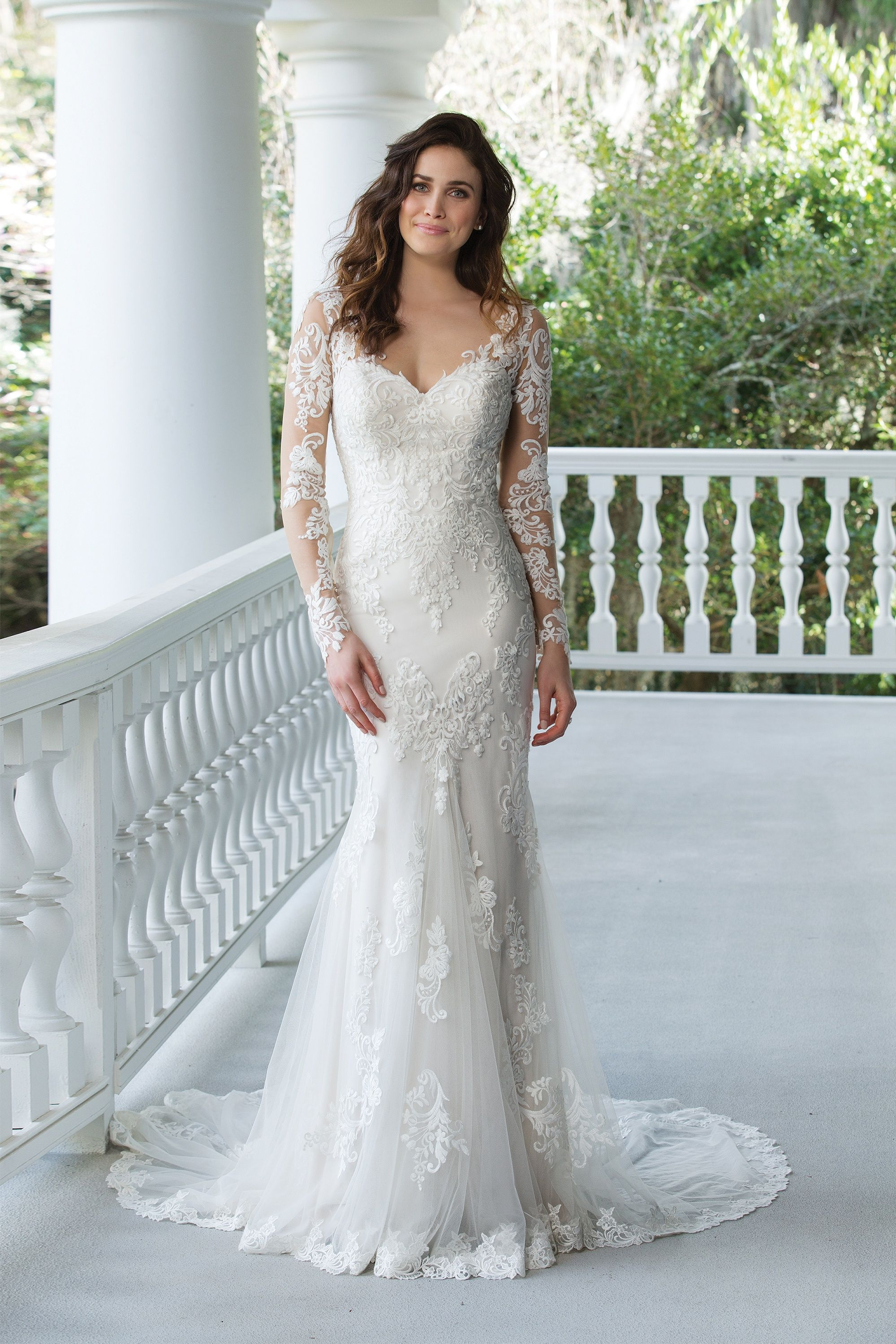 Fit and Flare Gown with Lace Illusion Sleeves and Back | The White ...