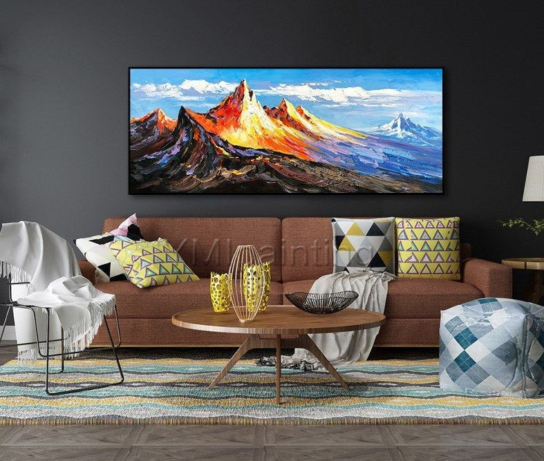 Mountains wall art painting on canvas Original art
