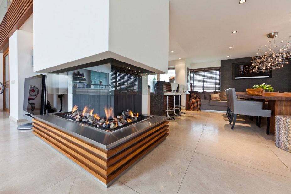 Hotels  Resorts, Luxurious Villa Interior Design With Beautiful Aquarium By Centric Design Group: Modern Fireplace With Wooden Platform And...