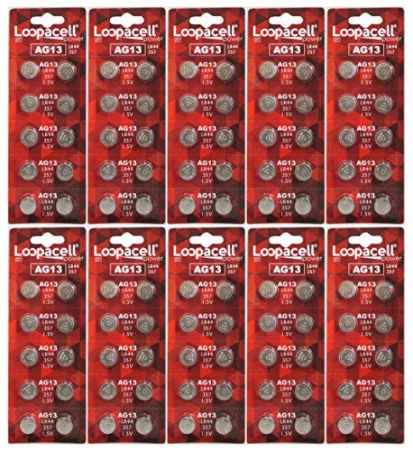 100 Pack Loopacell Lr44 Ag13 357 Button Cell Batteries Button Cell Battery Sizes Batteries