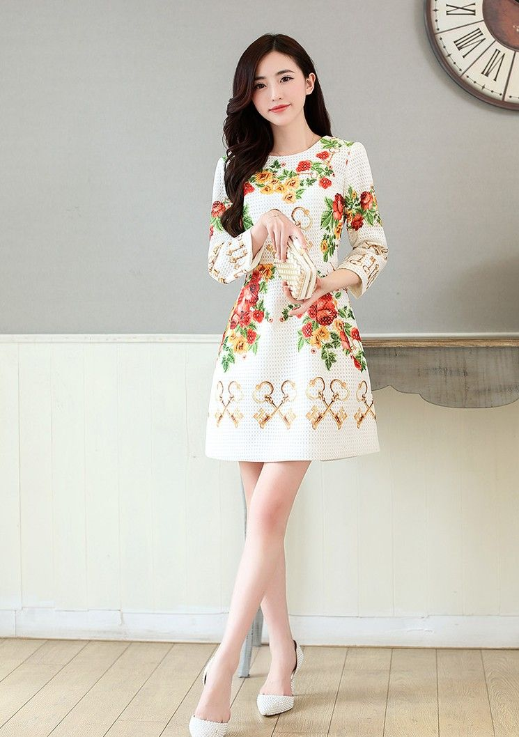 Women's #white one piece skirt #dress with flower pattern print, elegant style, round neck, long-sleeved.