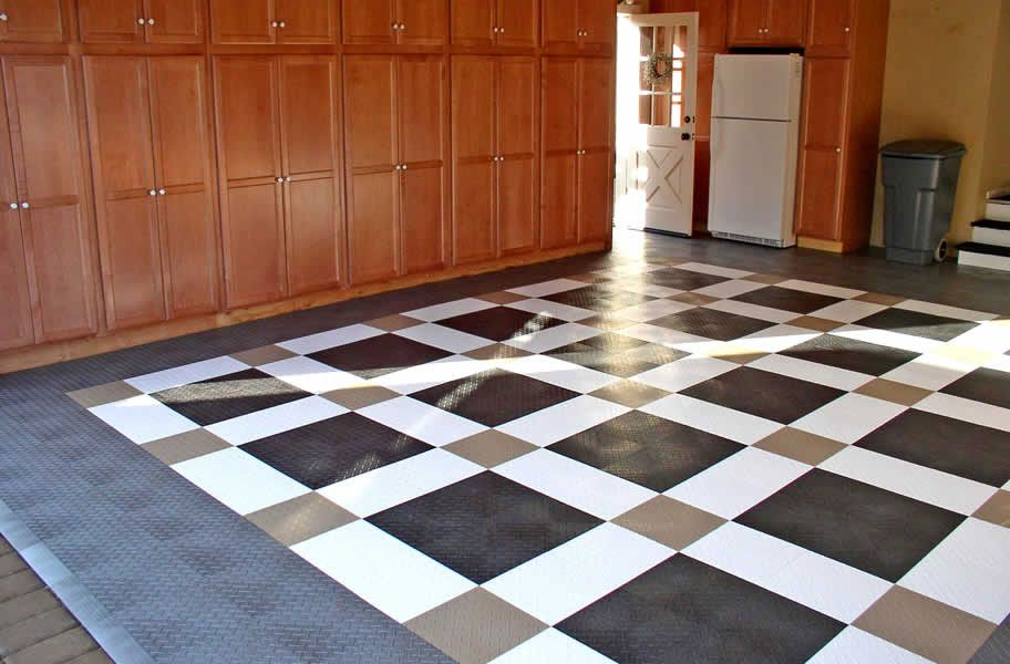 Diamond Grid Loc Tiles Snap Together Garage Floor