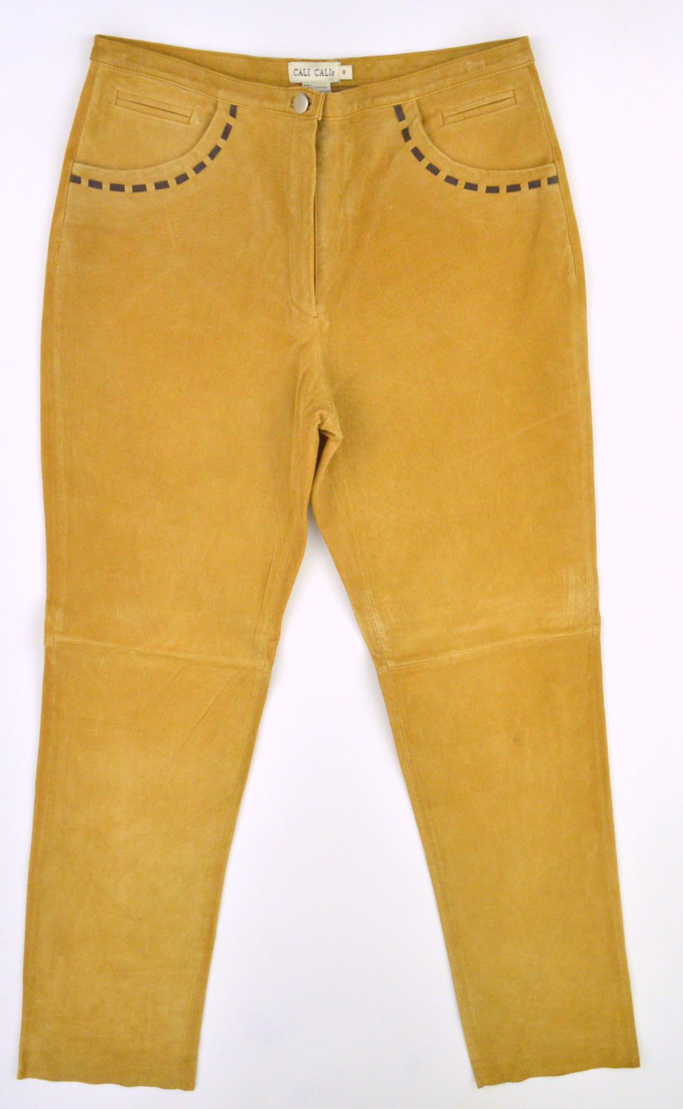 CALI CALI Womens Tan 100% Suede Leather Fully Lined Pants  Sz 8