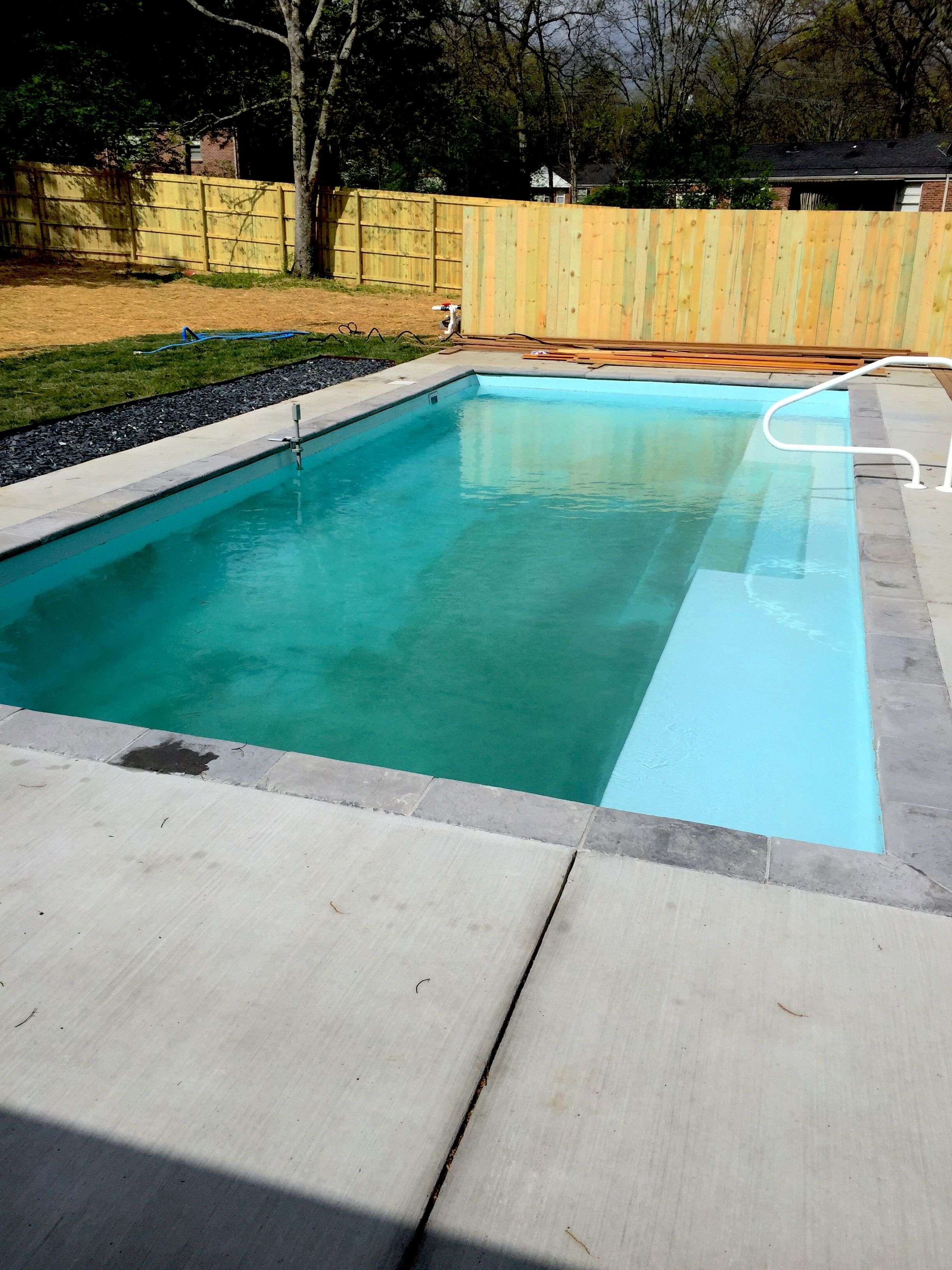 Pool And Spa Depot 15 X 33 Fibergl Rectangle Shape Travertine Coping Broom Finished Concrete Decking