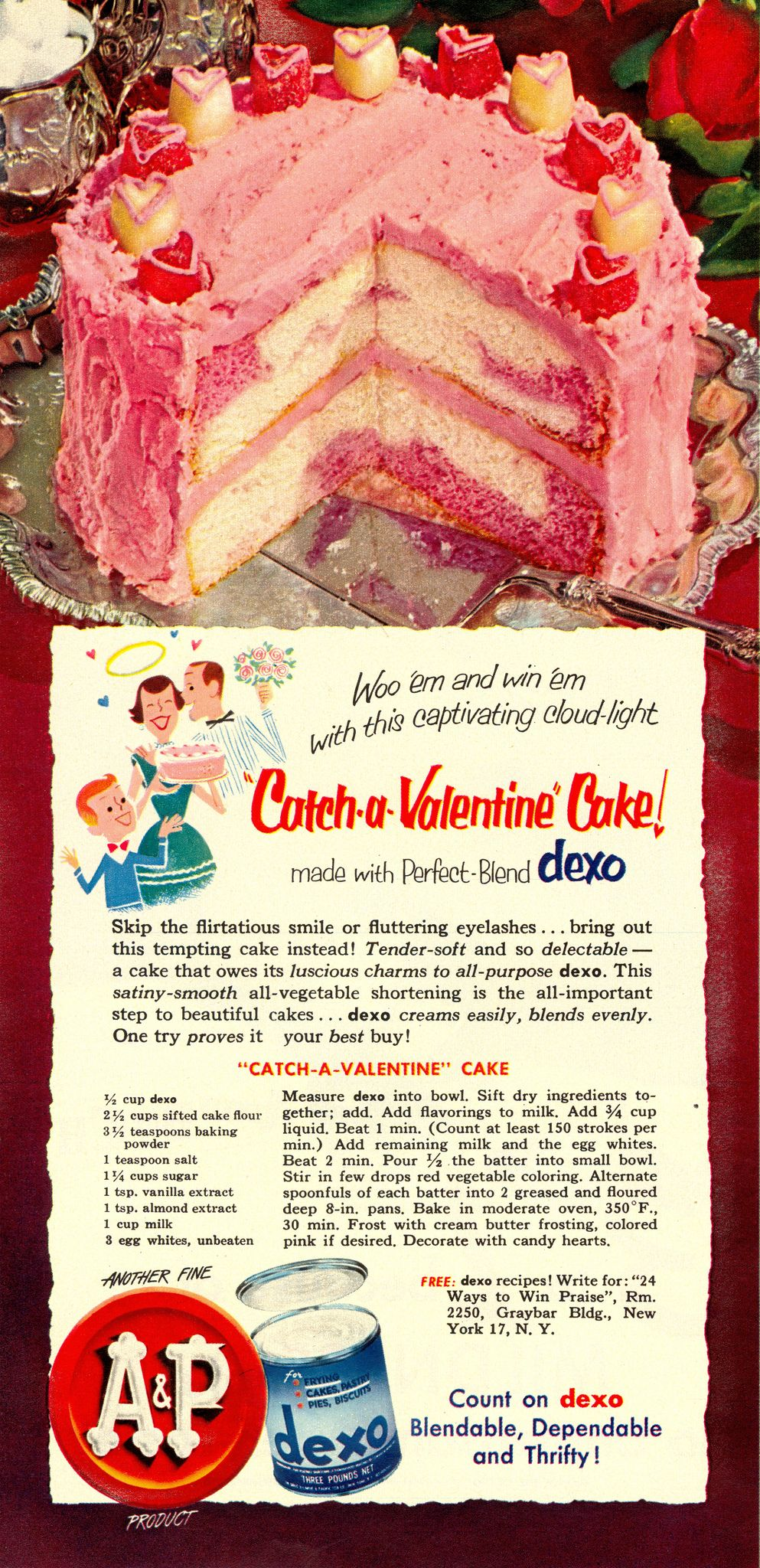 """Dexo Catch-A-Valentine Cake Recipe from """"Woman's Day"""" 