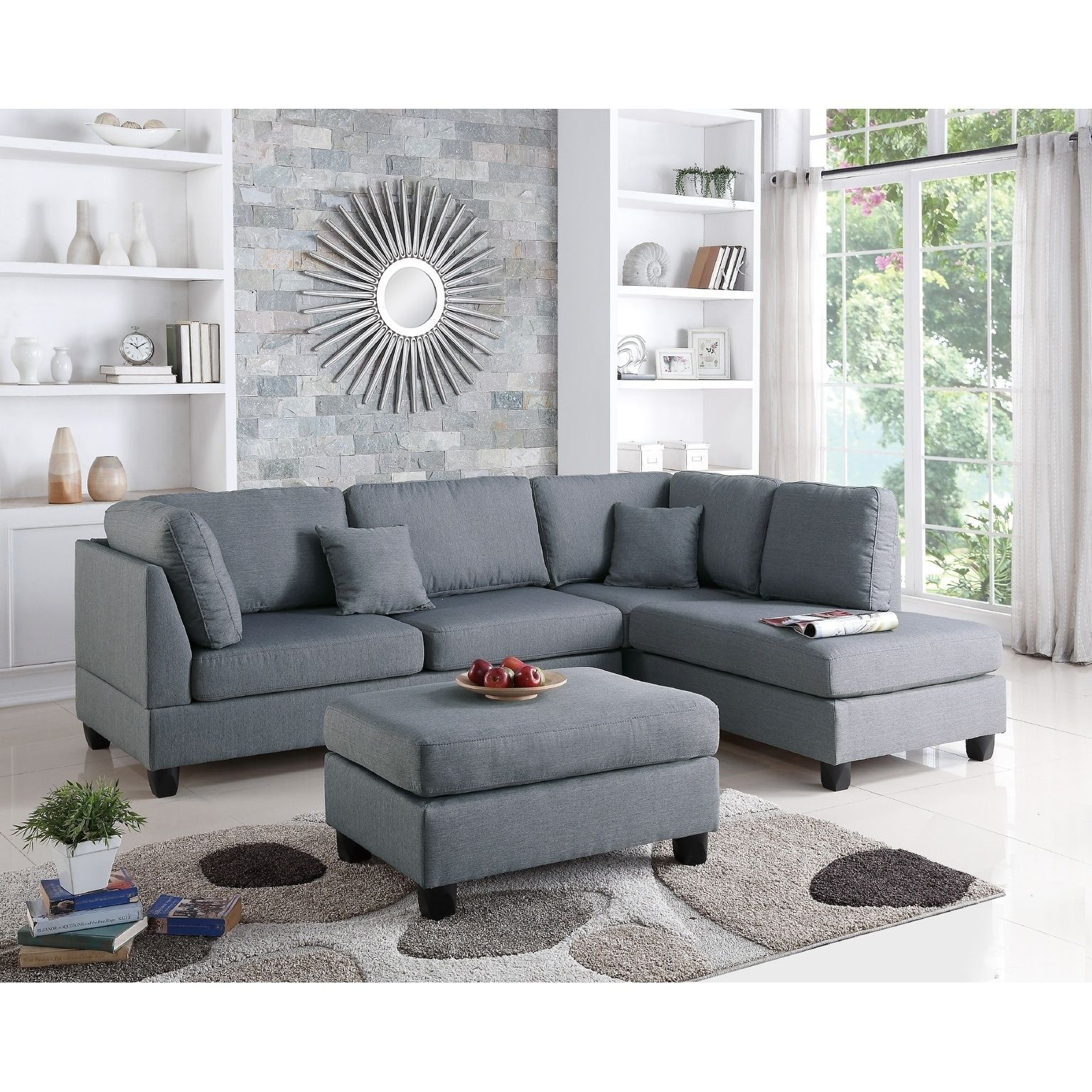 Reversible Sectional With Ottoman Gray Assembly Required