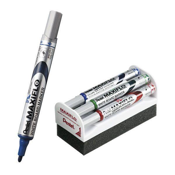 ROTULADOR PIZARRA BLANCA MAXIFLO. Rotulador para pizarra blanca, de borrado en seco. Pentel Maxiflo. Colores: verde, rojo, azul o negro.
