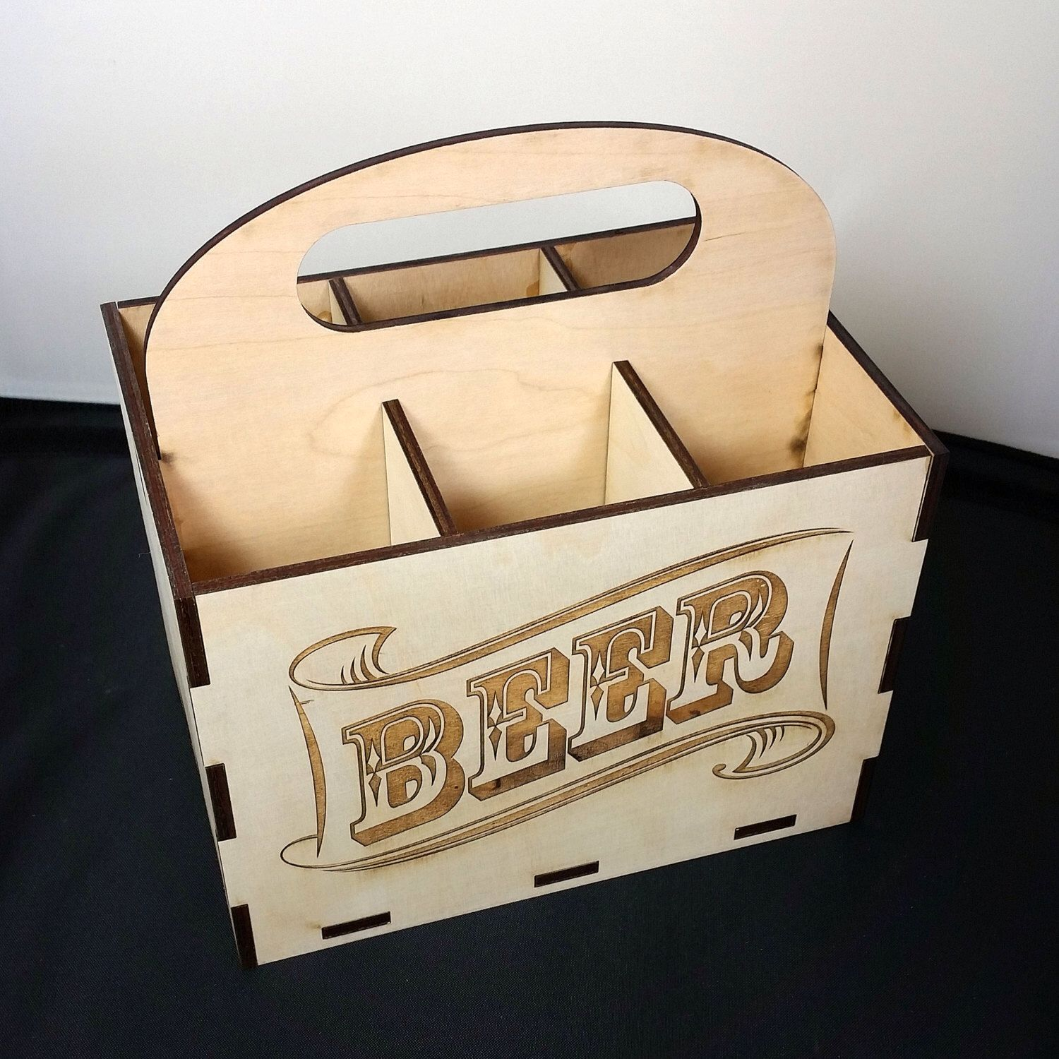 BEER CASE 6 pack laser cut wood by nygaarddesign on Etsy https://www.etsy.com/listing/207096624/beer-case-6-pack-laser-cut-wood