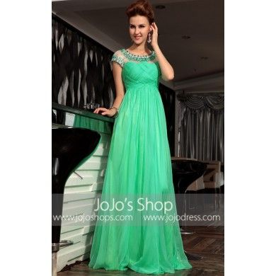 Green Modest Cap Sleeves Prom Formal Evening Gown DQ830682