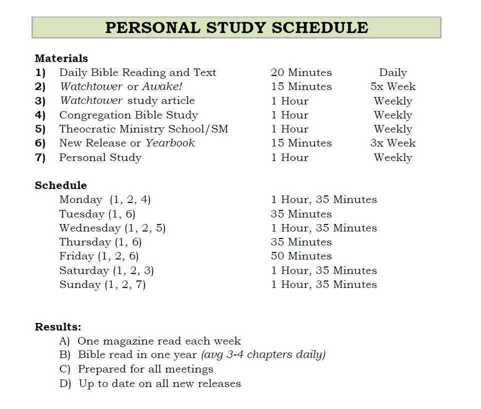 Personal Study Schedule | Family Worship & Personal Bible