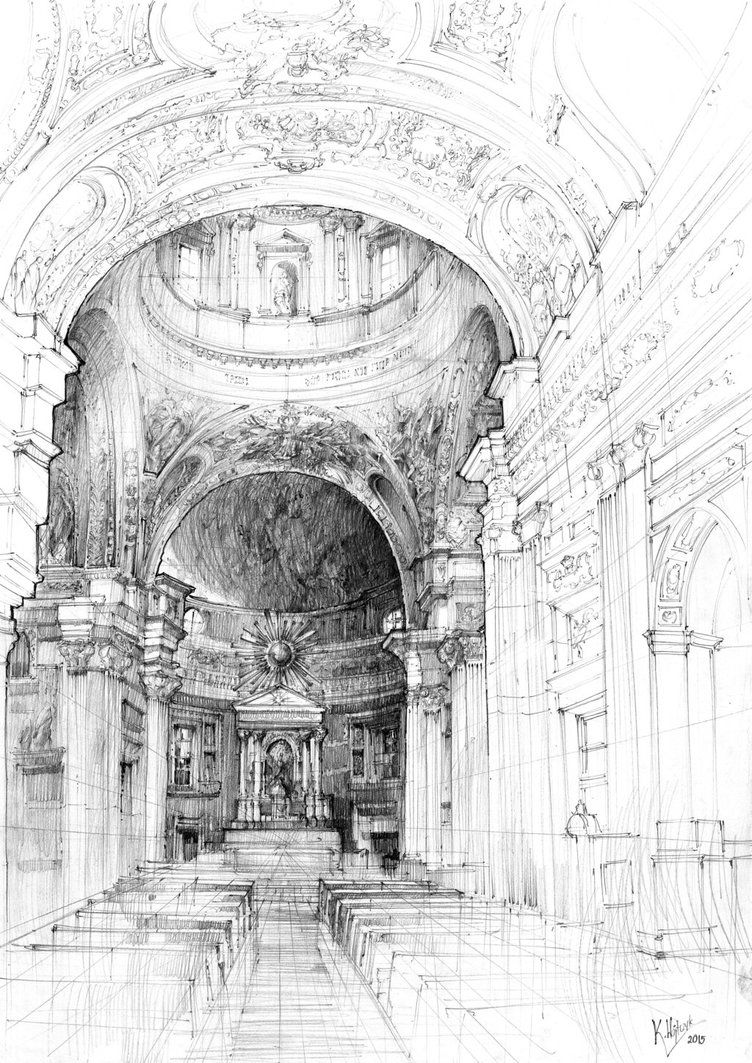 Line Drawing Architecture : Church interior in rome pencil drawing by kasia