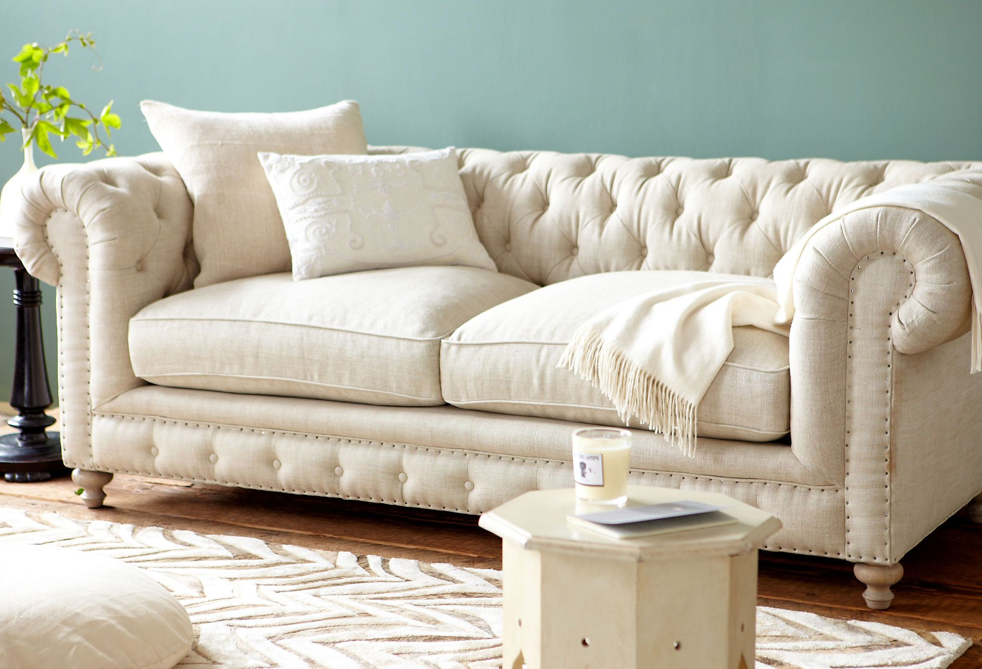 Finn 90 Tufted Linen Sofa Cream Classic With A Twist One Kings Lane Furniture Sofa Home Decor