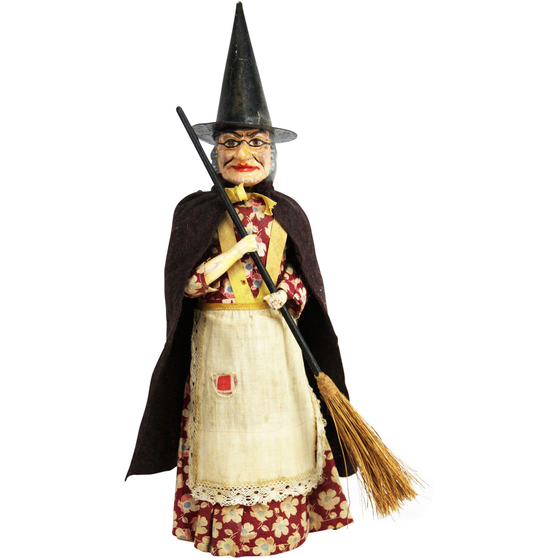 Early large German witch candy container. Vintage