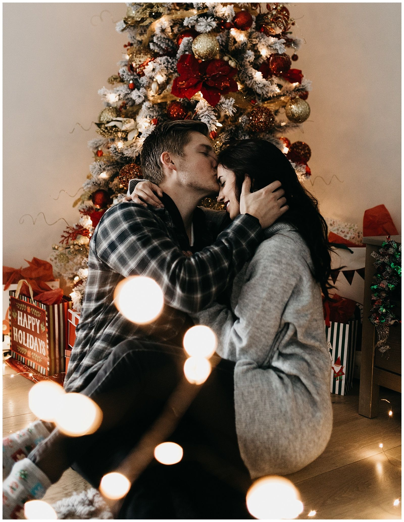 Alayna And Gavin Christmas In Home Session Christmas Couple Pictures Christmas Photography Couples Christmas Photoshoot
