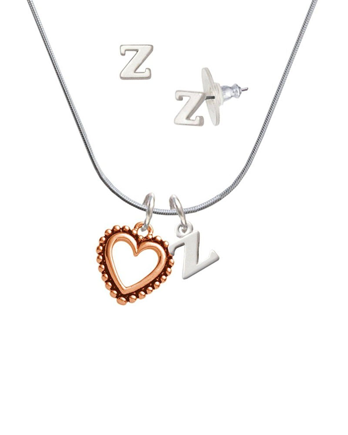 336b69d1e7e5 Open Rose Gold Tone Heart - Z Initial Charm Necklace and Stud Earrings  Jewelry Set     Continue to the product at the image link.