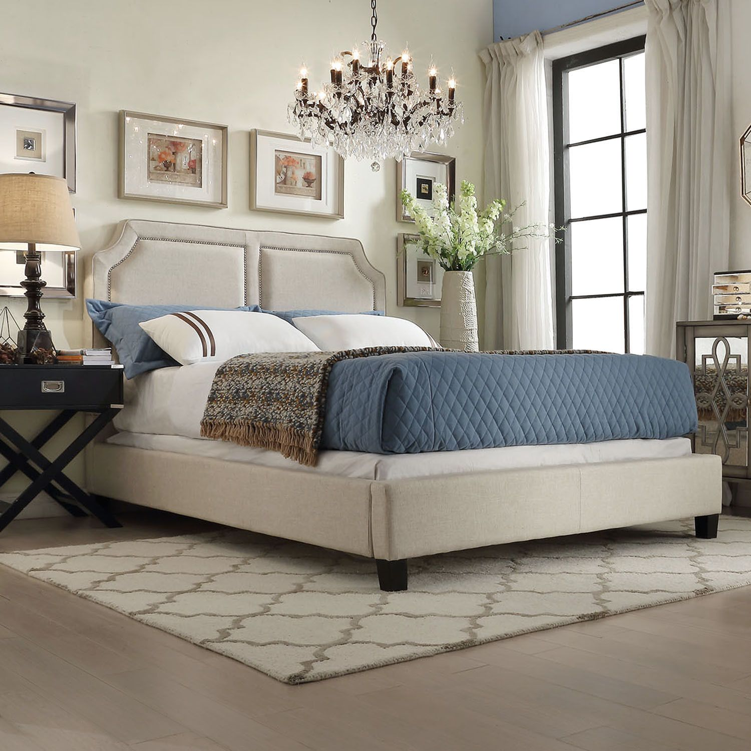 INSPIRE Q Harlow Arched Panel Nailhead Beige Linen Upholstered Queen-size  Platform Bed by iNSPIRE Q
